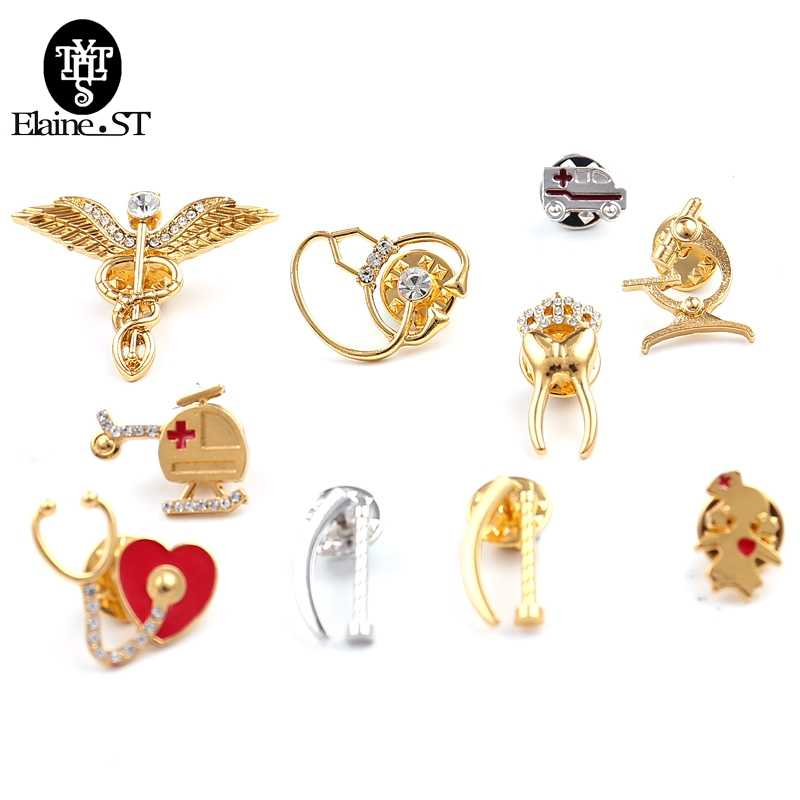 Cuterus Uterus Safety Brooches Pins Caduceus Woman's Womb Tooth Microscope Stethoscope Ambulance Nurse Brooch Medical Jewellery