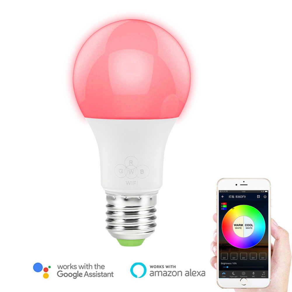 Smart Led Light Bulb Dimmable Rgb Wifi Smartphone Controlled Work With Alexa