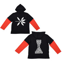 new ONGSEONG Kpop EXO The War Album Thin Hoodie Cotton Hoodies With Hat Printed Stitching Contrast Sleeve Sweatshirts