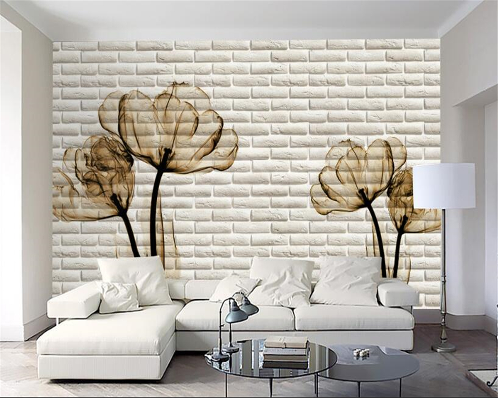 beibehang Wallpaper Fashion Tulip 3D Bric TV Wall papel de parede para quarto wallpaper for walls 3 d papier peint wall paper modern luxury wallpaper 3d wall mural papel de parede floral photo wall paper ceiling murals photo wallpaper papier peint behang