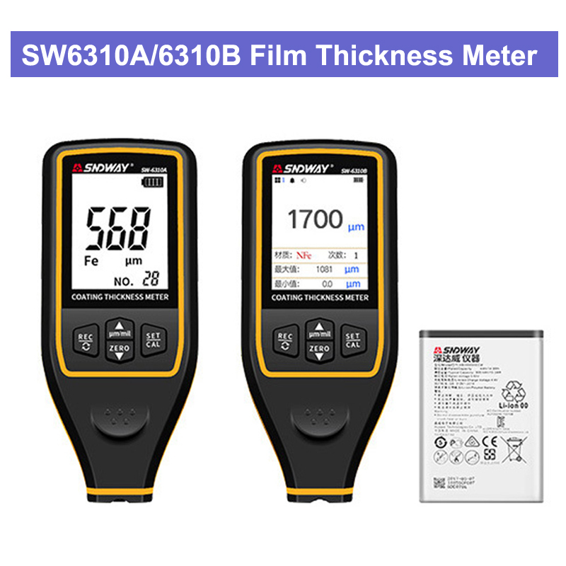 SW6310A 6310B Car Paint Film Meter Tester Coating Measure Thickness Gauge Digital Portable Mini Thickness Gauge