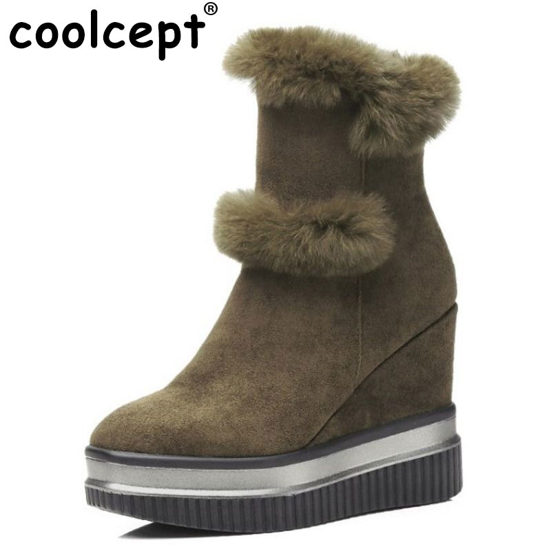 цены Coolcept Cold Winter Shoes Women High Heel Wedges Winter Boots For Women Warm Fur Inside Thick Platform Snow Botas Size 34-39