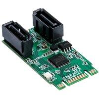 NGFF PCIe B+M key to 2 Port SATA 3.0 RAID Card M.2 to dual SATA 6Gbps Adapter RAID0 RAID1 with 7Pin SATA cable ASM1061R