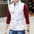 2016 algodón de los hombres ocasionales camisa de polo de manga larga Hombres de la Marca impreso Slim Fit camisa polo masculino de Polo de alta calidad