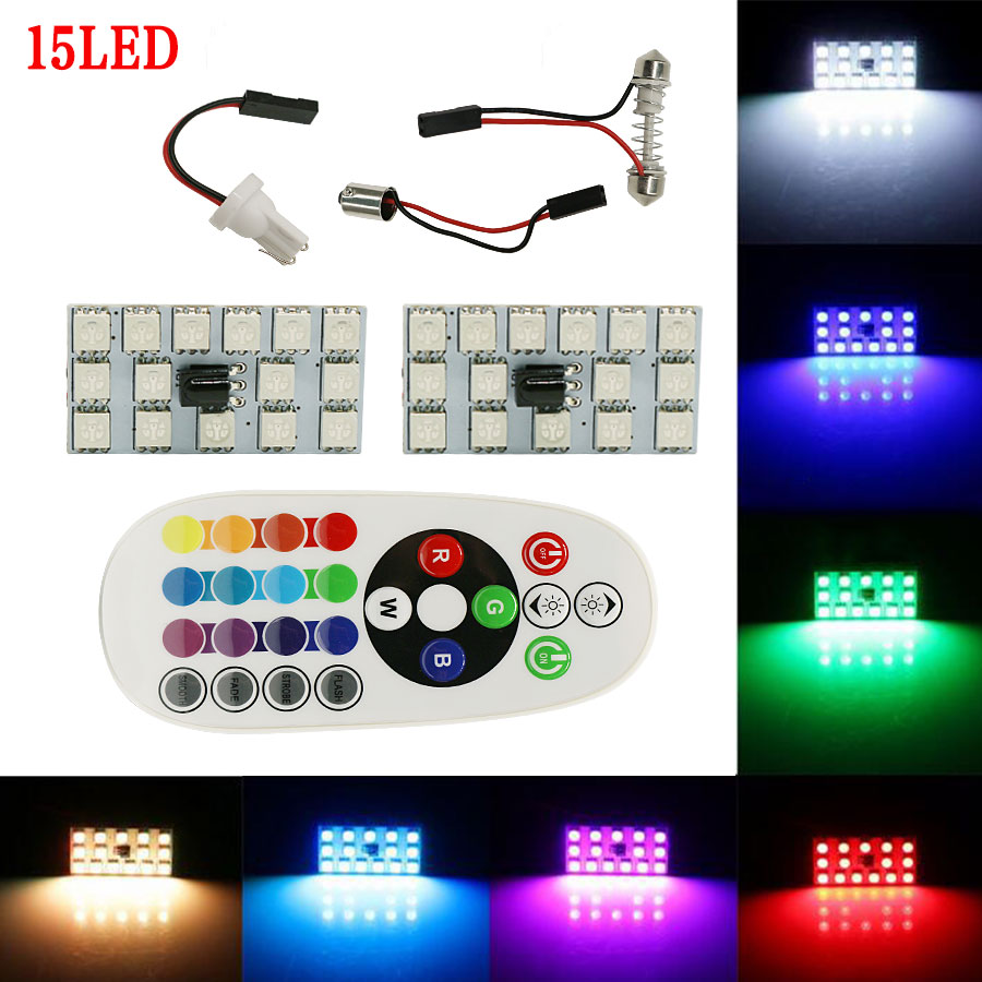 2x festoon t10 ba9s 16color rgb led panel auto car interior reading map lamp light dome festoon. Black Bedroom Furniture Sets. Home Design Ideas