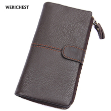 WERICHEST Leather Wallet Long Purse Luxury Male Genuine Men Zipper