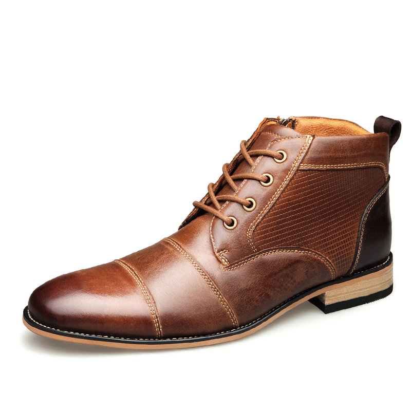 2019 Männer Rindsleder Stiefel Kopf Leder Marke Schnürung + Zipper Schuhe 46 49 Frühling Mann Westlichen Echtem Leder Stiefel Einfach Zu Schmieren