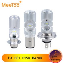 MeeToo H4 Led Motorcycle Headlight Bulbs LED HS1 BA20D P15D Hi/Lo Beam Light 12V Super Bright White Lamps for Motorcycle Scooter(China)
