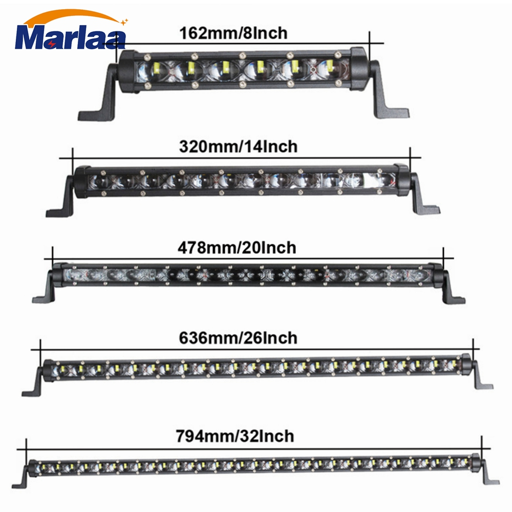 Marlaa 30w 60w 90w 120w 150w White Amber 6D Off-road Single Row Light Bar LED IP67 Waterproof Lamp for Truck SUV 12V 24V new 13 inch 6d lens 60w led single row light bar for truck suv offroad car 12v 24v