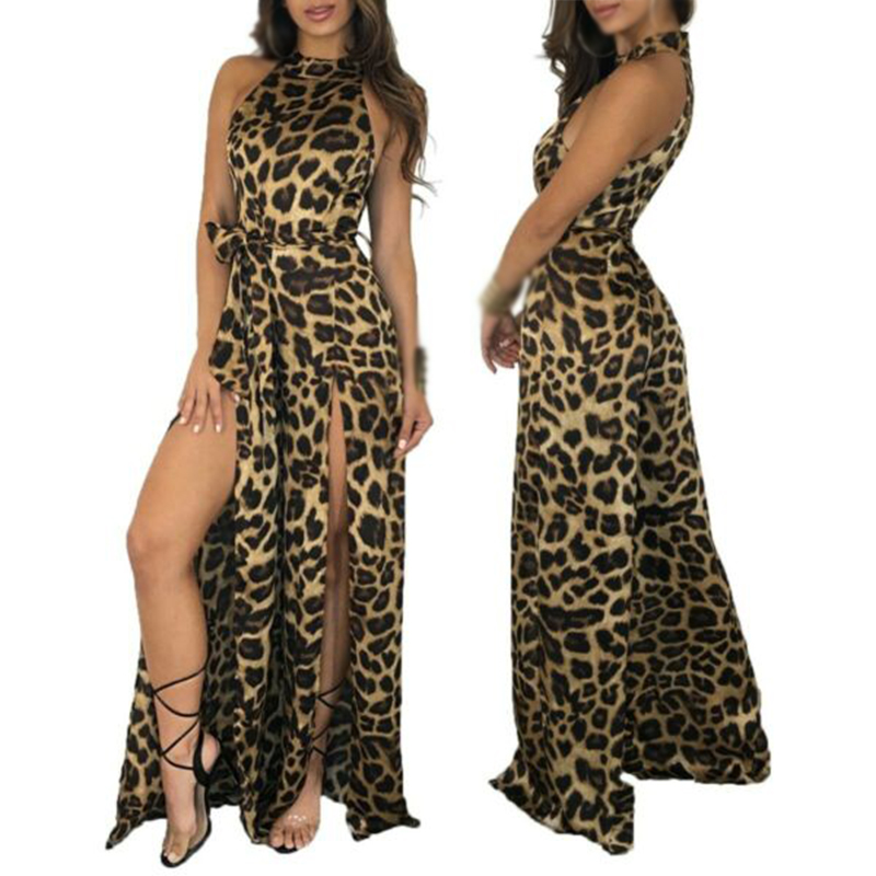 Sexy Women Halter Leopard Print Wide Leg Long Party Clubwear   Jumpsuit   Bodysuit
