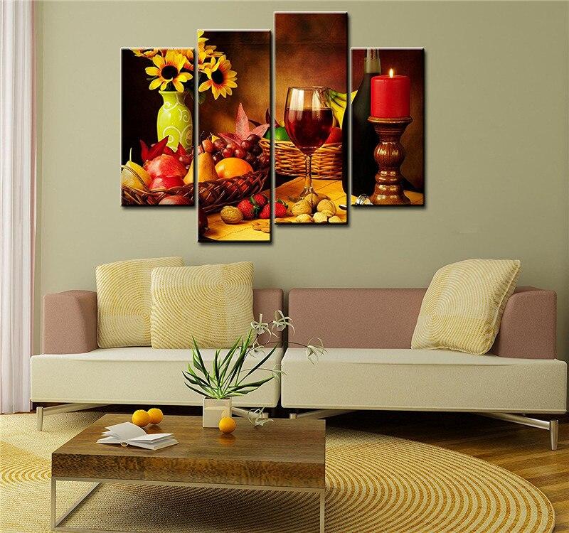 frutas y vino tinto paneles pinturas wall art canvas de pared para la sala