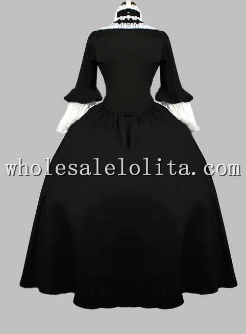 19-го Века Викторианской Era Готический Черный Период Dress Хэллоуин Бал-Маскарад Платье