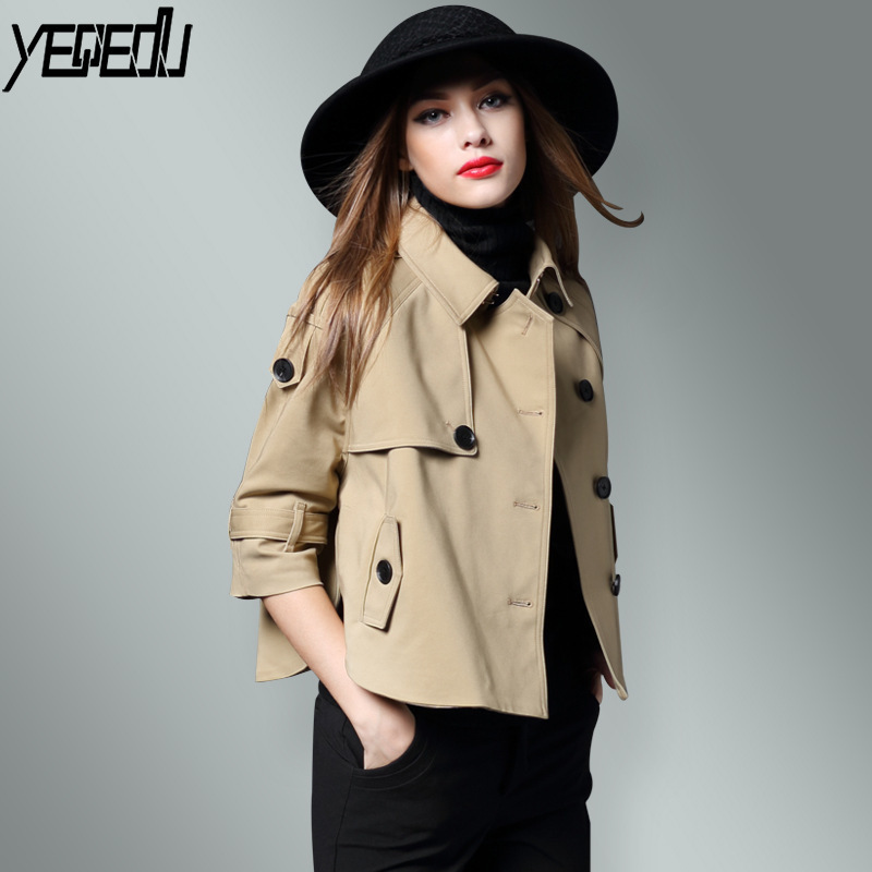 #3301 Spring 2019 Short Windbreaker Ladies Loose Khaki/Red/Black Elegant   Trench   Coat For Women Single Breasted Batwing Sleeve