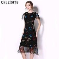 CELEISITE Women S Vintage Mulberry Silk Lace Dress New Elegant Print Flower Butterfly Black Pleated Chiffon