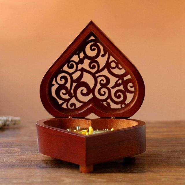 Carved Heart Shaped Wooden Music Box