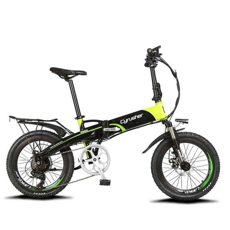 Cyrusher XF500 Bici Pieghevole Elettrica 250 W 48 V 10AH Li-Batteria completa sospensione Telaio Smart hybird ebike Con Il del computer Tachimetro