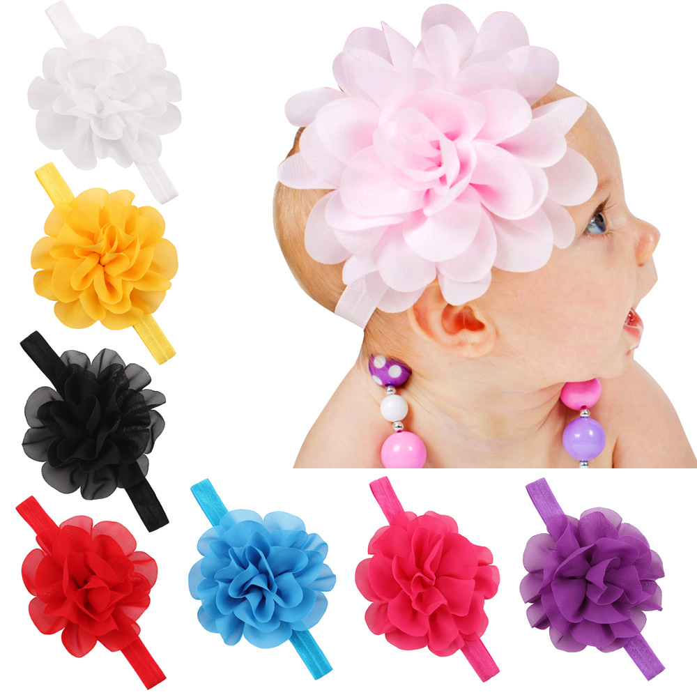Chiffon Flower baby girl headband Infant hair accessory cloth bows newborn   Headwear   tiara Gift Toddlers bandage Ribbon headwrap