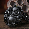 Drop Shipping High Quality Natural Black Obsidian Carving Buddha Lucky Amulet Pendant Necklace Women Men pendant Jade Jewelry