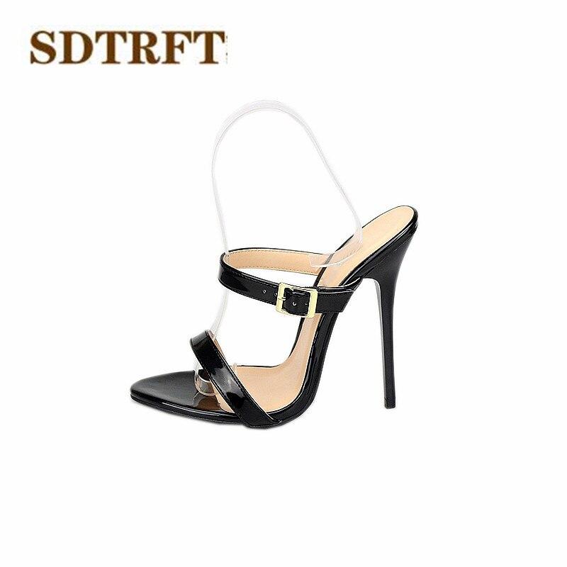 SDTRFT Stiletto Plus 46 47 48 49 50 Summer E+ width sandals 130mm thin heels e68fd294202f