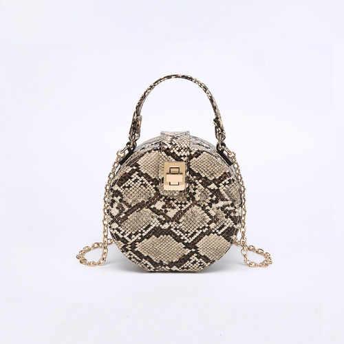7f334c6981a1 Vintage Snake Small Round Bag Portable Printing Ladies Chain Fashion Single  Shoulder Ladies Snake Pattern Messenger