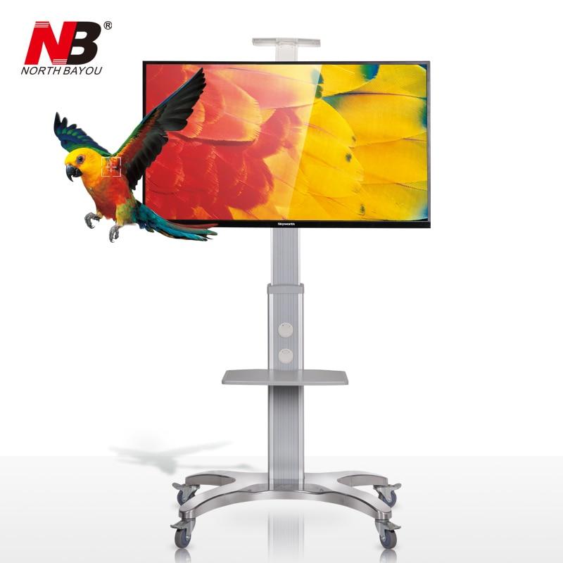 NB AVF1500-50-1P Aluminum Alloy 32~65 inch TV Mount Trolley Flat Panel LED LCD Plasma TV Cart with AV shelf and Camera Holder цена и фото