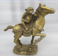 China's rare copper old manual hammer lucky monkey the statue of a horse