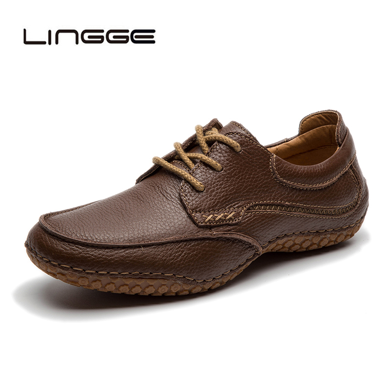 LINGGE Men Casual Leather Shoes Leather Loafers Lace-Up Men Flats Lightweight Fashion Comfortable Brown Shoes