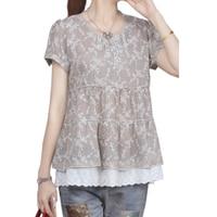 2017 Summer Vintage Blouse Women Casual Short Sleeve Floral Print Cotton Linen Tops Lace Patchwork Loose
