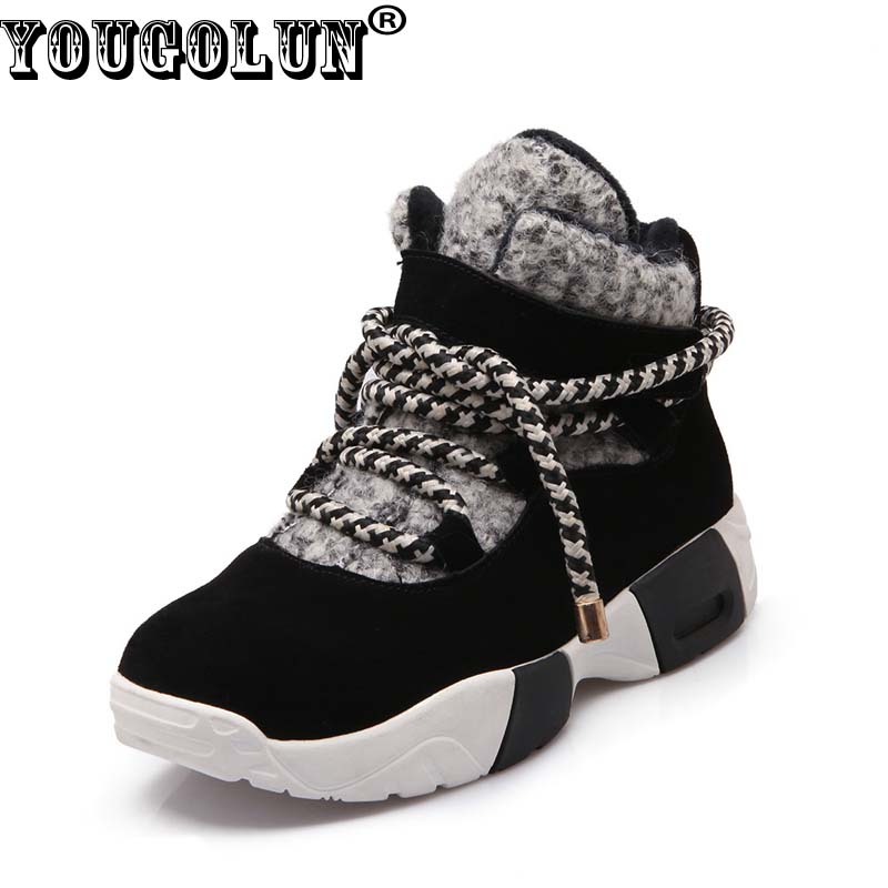 YOUGOLUN Women Ankle Boots Cow Suede 2017 Winter Snow Boots Cross tied Mixed Colors Wedges Black Warm Shoes #Y-001 suede ankle snow boots
