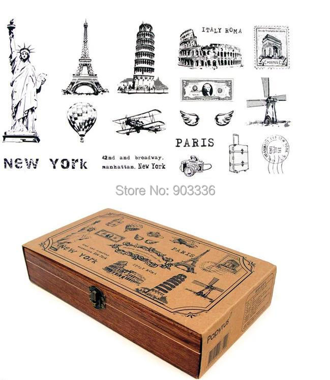 Wholesale stationery, landscape wooden stamp set, A LIFE, wooden box packed, free shipping шкатулки trousselier музыкальная шкатулка wooden box жираф