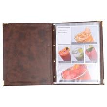 Толстый прочный держатель меню из искусственной кожи для ресторана 7 листов карман меню карты дисплей папка черный коричневый вино