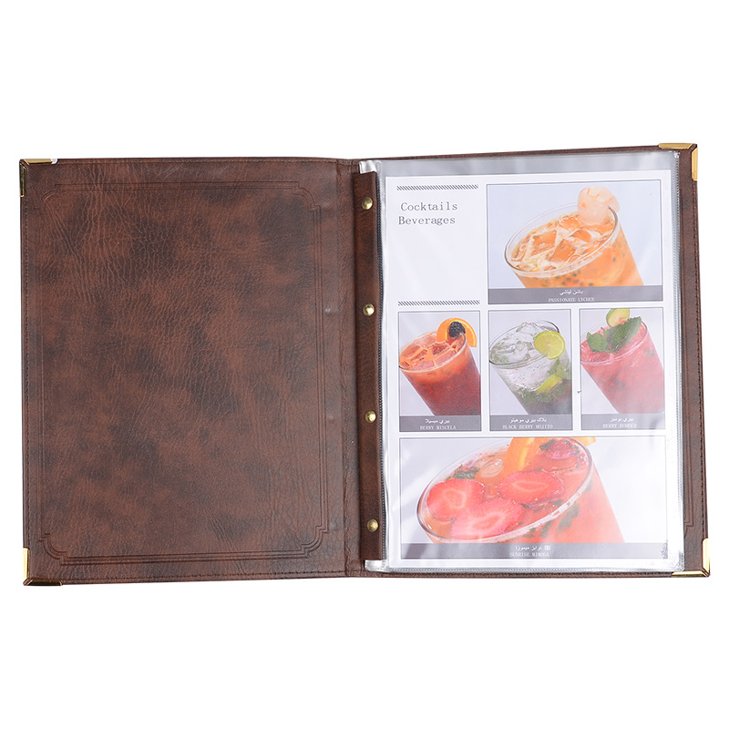 Brown PU Leather Material Menu Holder For Restaurant 7 Sheets Pocket Menu Card Display Folder brown genuine leather menu holder restautant menu cover money receipt high quality accept customized order print your own logo