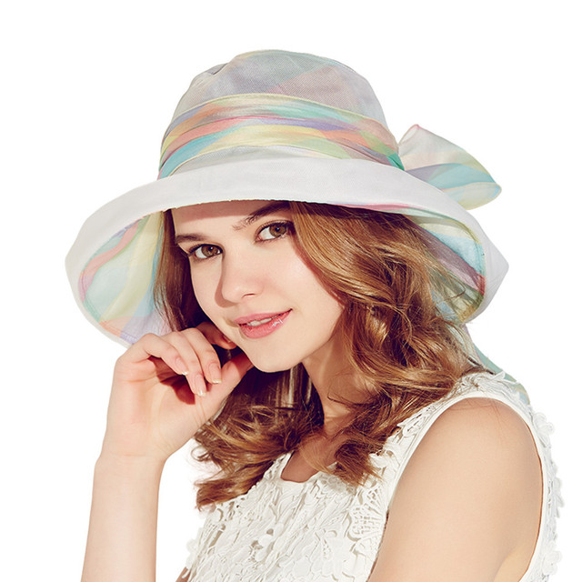 b40629f279cd7 Kenmont Korean Women Sun Protection ladies Hiking Wide Brim Beach Bucket  Silk Beautiful Colorful Hat And Caps 3031