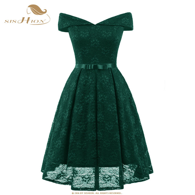 7cc4eecbba4 SISHION Emerald Green Lace Dress Summer 2018 Slash Neck Red Pink Blue Party  Vintage Girls Beach Lace Sexy Skater Dresses VD0701