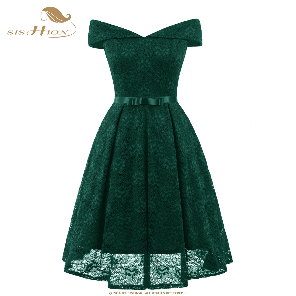 SISHION Emerald Green Lace <font><b>Dress</b></font> Summer 2020 Slash Neck Red <font><b>Pink</b></font> <font><b>Blue</b></font> Party Vintage Girls Beach Lace <font><b>Sexy</b></font> Skater <font><b>Dresses</b></font> VD0701 image