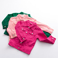Baby Girl Boys Polka Pur Cool jacket 100% Cotton Outwear Kids Clothes Spring Jacket Children's Clothing Pink/Rose red /Green