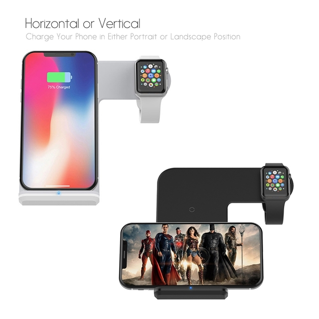DCAE 2 in 1 Charging Dock Station Bracket Cradle Stand Holder Wireless Charger For iPhone XS MAX XR X 8 For Apple Watch Charger 3