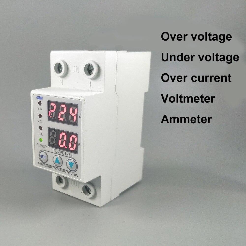 63A 230 V Din rail regolabile sopra e sotto tensione dispositivo di protezione protezione relè con protezione da sovracorrente Voltmetro