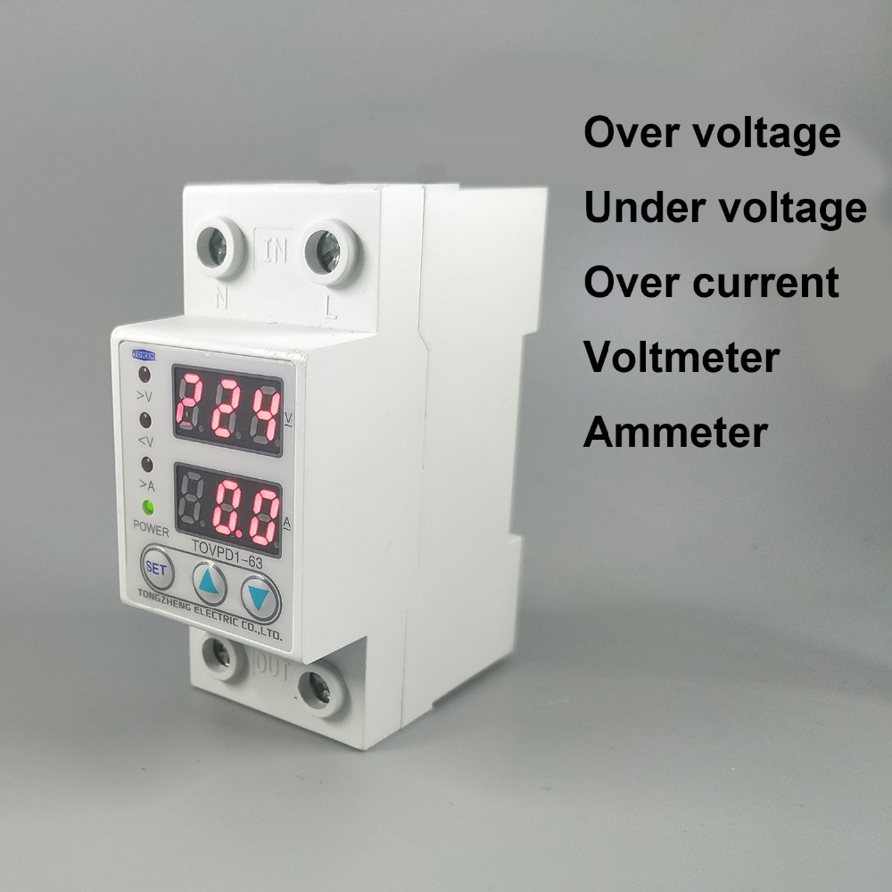 63A 230V Din rail adjustable over and under voltage protective device protector relay with over current protection Voltmeter