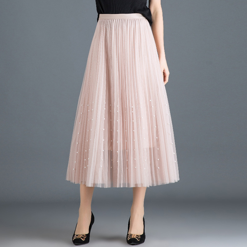 HTB1ymRQPmzqK1RjSZPxq6A4tVXaJ - New Spring Summer Skirts Womens Beading Mesh Tulle Skirt Women Elastic High Waist A Line Mid Calf Midi Long Pleated Skirt