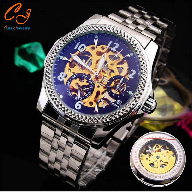Fashion big dial <font><b>blu-ray</b></font> hollow <font><b>out</b></font> environmental protection plating steel belt mechanical watches business <font><b>men</b></font> watch