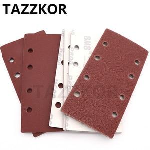 Image 1 - Square Sandpaper Grit Flocking Sand Paper Special Shaped Disc Abrasive Stone Glass Grinder For Wood Polish Tools 93x185mm 10pcs