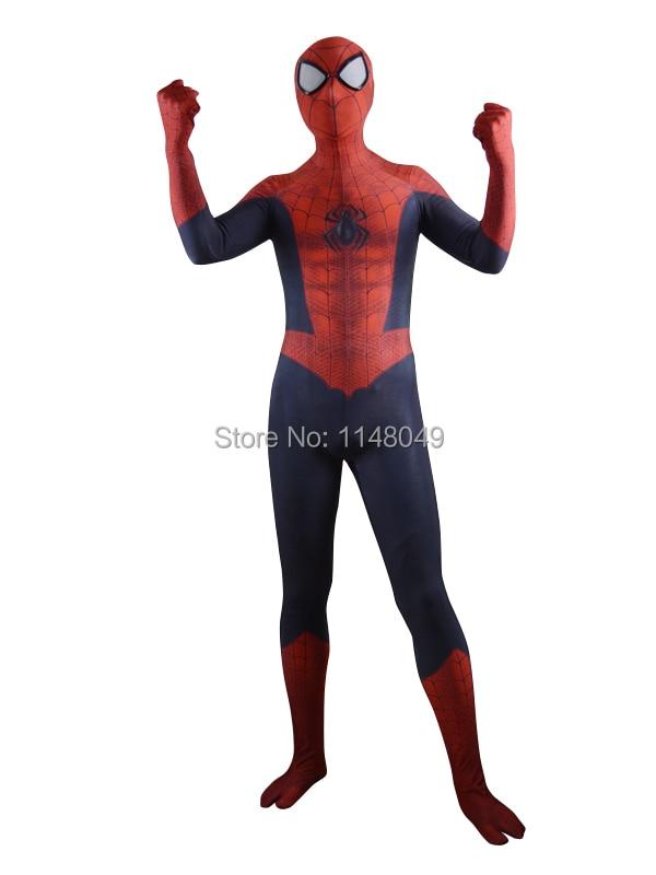 Newest <font><b>Spiderman</b></font> Costume 3D Shade Pattern Superhero Costume without Eye <font><b>Glasses</b></font>