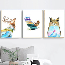 Deer Owl Eagle Abstract Mountain Wall Art Canvas Painting Nordic Poster And Prints Pictures For Living Room Home Decor