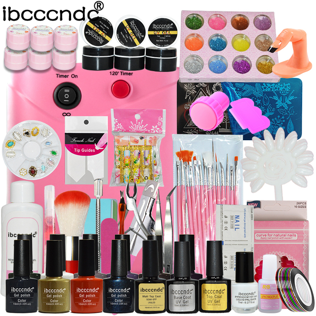 Nail Art Set Manicure Tools Kit 36W UV Lamp + 10 Color 10ml Gel Polish Base Top Coat Flower UV Gel with Remover Glitters Decals
