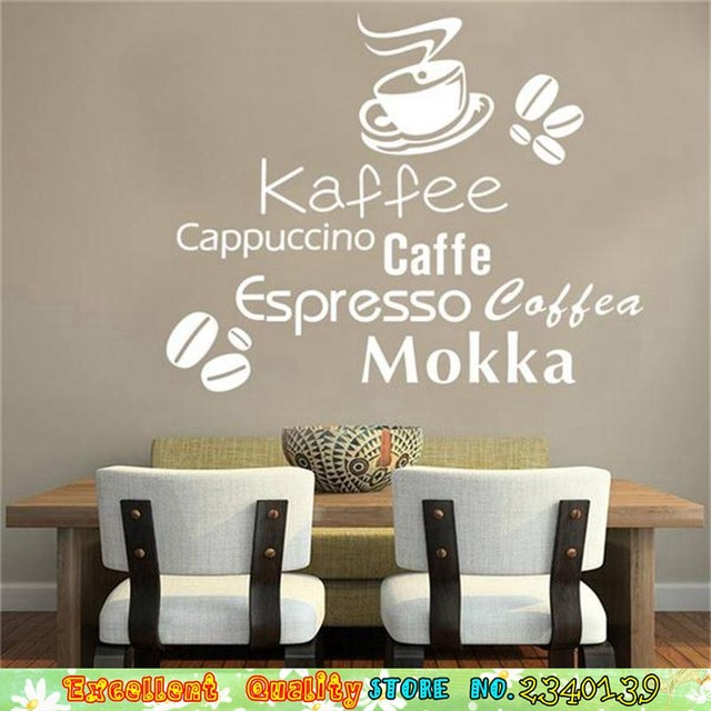 Kaffee Caffe Cappuccino Mokka Wall Stickers For Cafe Coffee Shop Wall Art  Decals Decoration DIY Home Kitchen Vinyl Wall Stickers