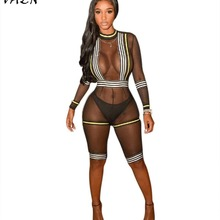 VAZN Hot Fashionable Popular 2018 Sexy Style Women Playsuit Solid Hollow Out O Neck Full Sleeve