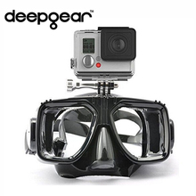 DEEPGEAR diving mask for gopro tempered glass lens snorkel goggles silicone seal adult swimming goggles Camera mount dive mask