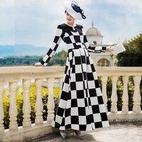 2018 осень траншеи платье осень плед черный, белый цвет взлетно посадочной полосы платье Для женщин бальное платье длинное платье DZ8042
