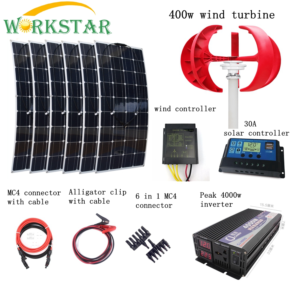 6pcs 100W Flexible Solar Modules+400W Vertical Wind Generator with 4000W Inverter and Controllers 1000W Wind Solar Power System 6pcs 100w flexible solar modules 400w vertical wind generator with 4000w inverter and controllers 1000w wind solar power system